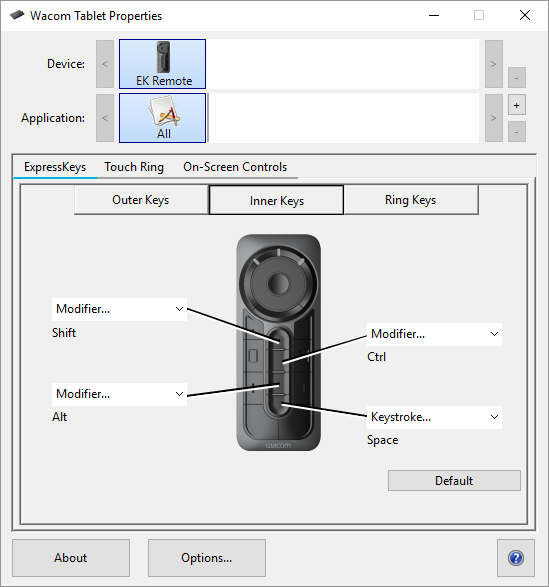 how to change wacom tablet expresskeys